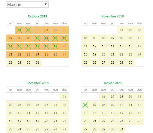 calendrier des disponibilités et des saisons